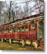 Devastation Railroad Passenger Train Car Fire Art Metal Print