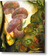 Dew Drop Mushrooms Metal Print