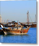 Dhows In Doha Bay Metal Print
