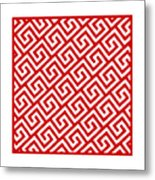 Diagonal Greek Key With Border In Red Metal Print
