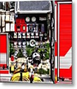 Dials And Hoses On Fire Truck Metal Print