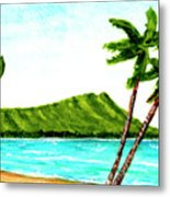 Diamond Head And Waikiki Beach #351 Metal Print