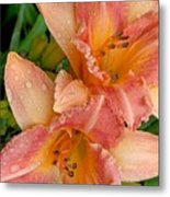 Diamonds And Lilies Watercolor Metal Print
