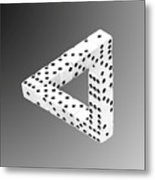 Dice Illusion Metal Print