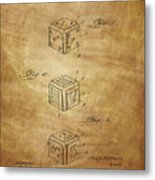 Dice Patent From 1923 Metal Print