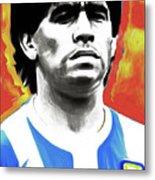 Diego Maradona By Nixo Metal Print