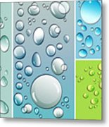Different Size Droplets On Colored Surface Metal Print