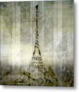 Digital-art Paris Eiffel Tower Geometric Mix No.1 Metal Print by Melanie Viola