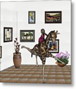 digital exhibition _ It climbed up giraffe Metal Print