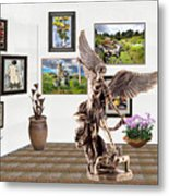 digital exhibition _  sculpture of a Angels and Demons  Metal Print