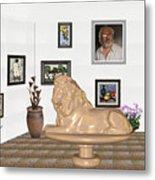 Digital Exhibition _  Sculpture Of A Lion Metal Print