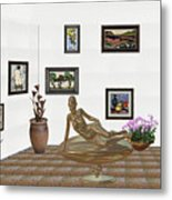digital exhibition _ Statue of girl 48 Metal Print