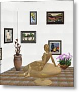 digital exhibition _ Statue of girl 52 Metal Print