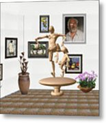 digital exhibition _ Statue of  Mother and child zombies Metal Print