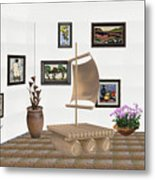 digital exhibition _ Statue raft with sails 3 Metal Print