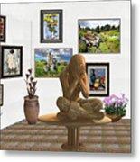 digital exhibition _Statue 5 of posing girl 221 Metal Print