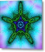 Digital Kaleidoscope Green Star 001 Metal Print