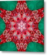 Digital Kaleidoscope Red-green-white 8 Metal Print