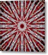 Digital Kaleidoscope Red-white 7 Metal Print