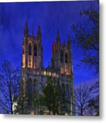 Digital Liquid - Washington National Cathedral After Sunset Metal Print by Metro DC Photography