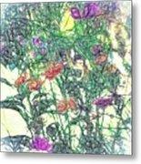 Digital Pencil Sketch Flowers Metal Print