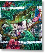 Dining At The Hibiscus Cafe - Iguana Metal Print