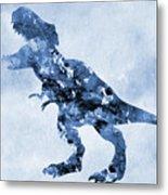 Dinosaur Rex-blue Metal Print