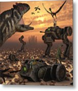 Dinosaurs And Robots Fight A War Metal Print