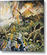 Dinosaurs And Volcanoes Metal Print