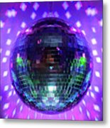 Disco Ball Purple Metal Print