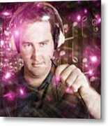 Disconnected Male Dj Holding Unplugged Audio Jack Metal Print