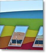 Discovery Science Center Window Reflection Metal Print