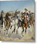 Dismounted The Fourth Troopers Moving The Led Horses Metal Print