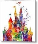 Disney Castle 6 Watercolor Print Metal Print