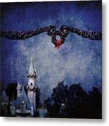 Disneyland Castle At Christmas Time Metal Print