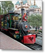 Disneyland Railroad Engine 3 With Castle Metal Print