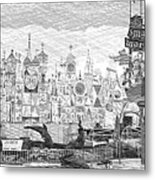 Disneyland Small World Panorama Pa Bw Metal Print