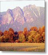 Distant Cattle Grazing Beneath Cascade Mountains 1 Metal Print