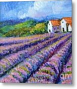 Distant  Houses And Lavender Fields Metal Print