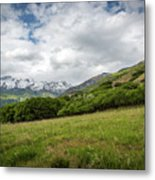 Distant Snow-capped Mountains Metal Print