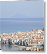 Distant View Of Cefalu Sicily Metal Print
