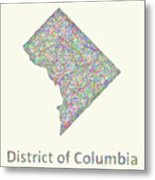 District Of Columbia Line Art Map Metal Print