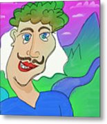 Disturbed And Synchromatic Portrait Of Salezjan Wiencikowski, Well Known Freak And Funny Person Metal Print