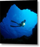 Diver At Cavern Entrance Metal Print by Dave Fleetham - Printscapes
