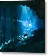 Diver Enters The Cavern System N Metal Print