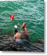Divers At Sebastian Inlet On The Atlantic Coast Of  Florida Metal Print
