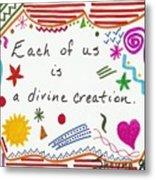 Divine Creation Doodle Quote Metal Print