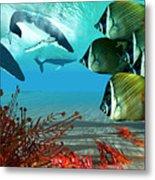 Diving Whales Metal Print