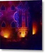 Diwali Card Lamps And Murals Blue Orange India Rajasthan 2f Metal Print
