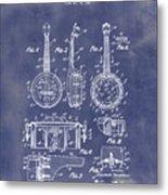 Dixie Banjolele Patent 1954 In Grunge Blue Metal Print